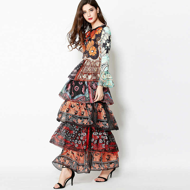 b4dea47c0299b Europe big beautiful gorgeous layered cake style long maxi long sleeve  floral print Slim dress catwalk