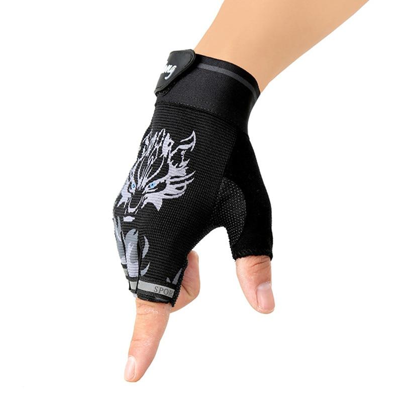 Unisex Cyklistické rukavice Dámské Růžové Protiskluzové Vlci Hlava Mužské Rukavice Poloviční rukávy Horské Silniční Kolo Muži Rukavice Cyklistické Dámské Rukavice