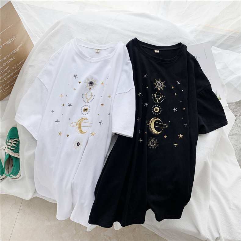 Fashion star embroidery Tee Shirt Femme korean Kawaii T Shirt Women Funny Short Sleeve T-Shirts harajuku white Black Tops Female 7