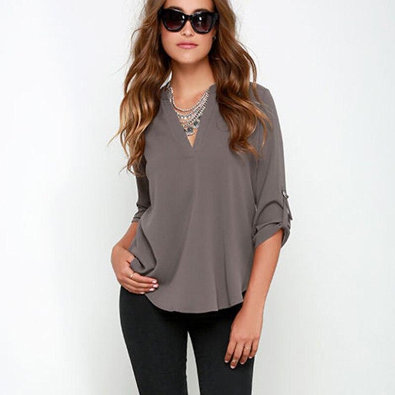 34 Sleeve Chiffon Shirt Sexy V Neck Gray Brick Red -9533