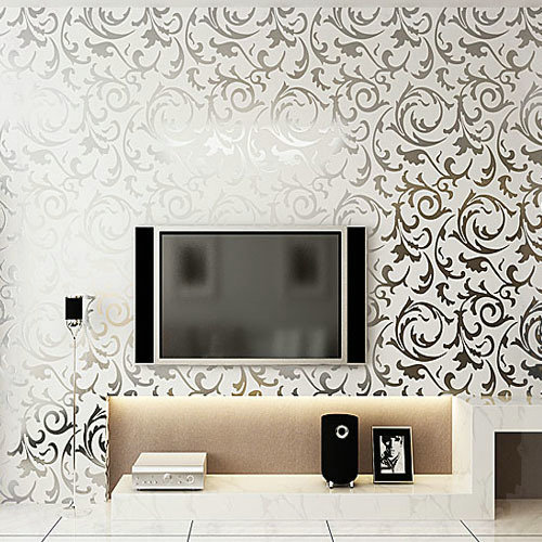 Silver Glitter Wallpaper Gold Foil Damask Wall Papers For Bedroom