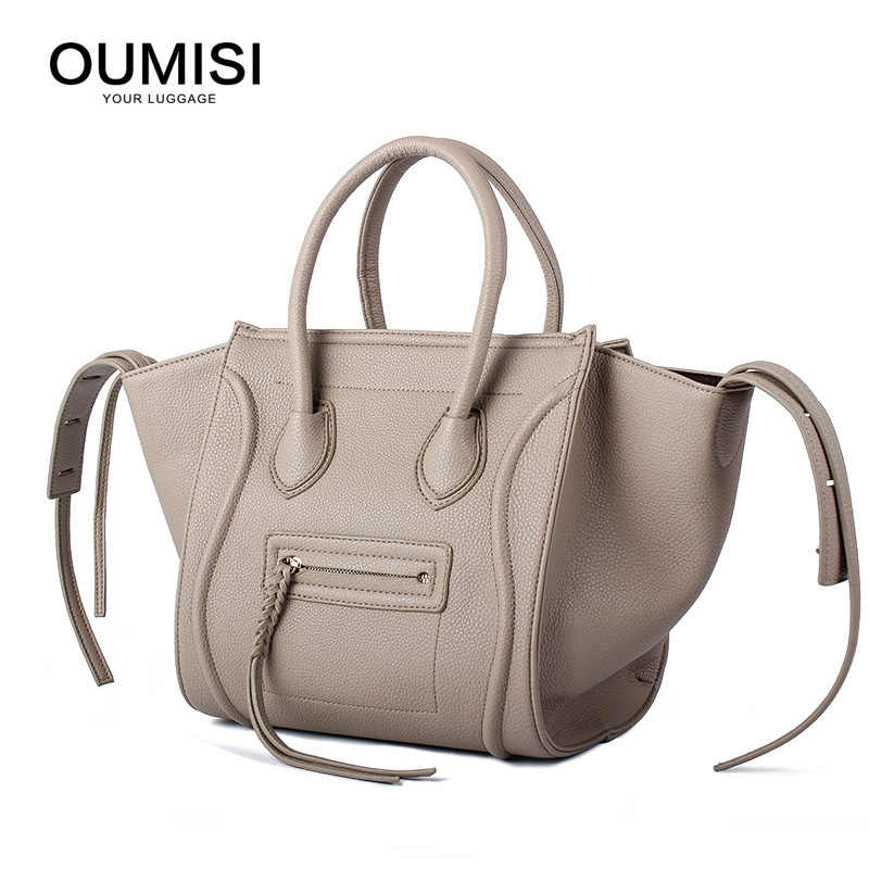 924440fe21e8 OUMISI Women Classic Luxury PU Leather Smiling Face Bag Chamois Handbags  Bat Wings Lady Smiley Tote