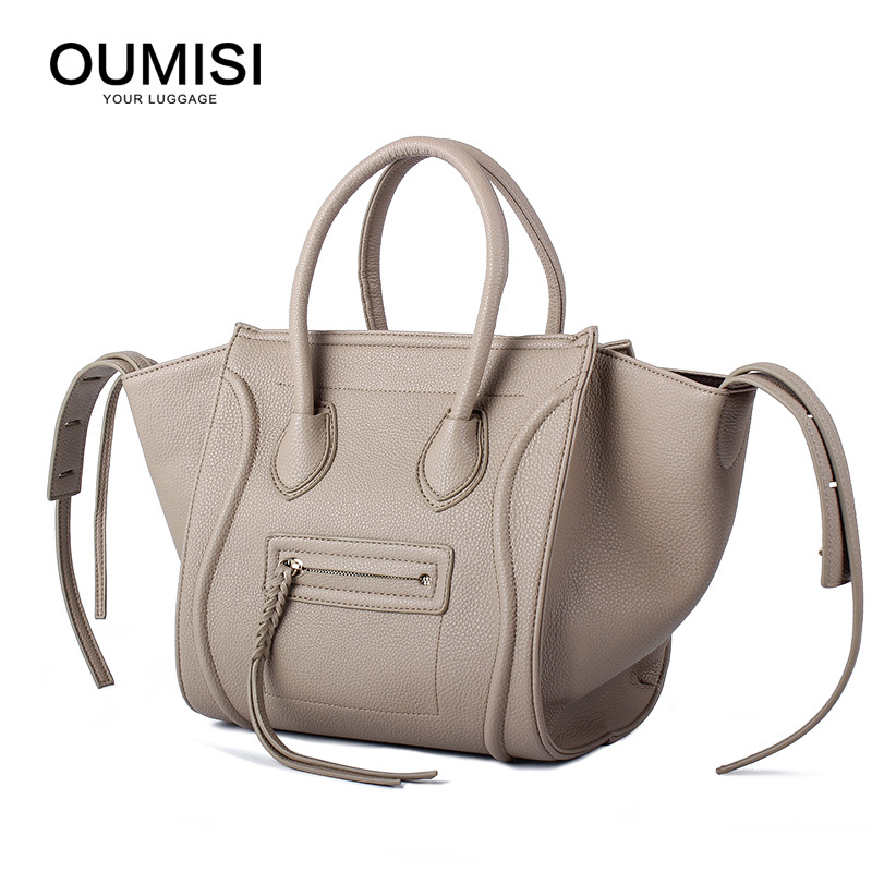 OUMISI Women Classic Luxury PU Leather Smiling Face Bag Chamois Handbags Bat Wings Lady Smiley Tote Phantom Famous Purse LH lydian women classic luxury pu leather smiling face bag black handbags bat wings lady smiley totes phantom famous purse clutches