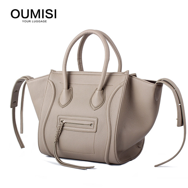 bcf5527198 OUMISI Women Classic Luxury PU Leather Smiling Face Bag Chamois Handbags  Bat Wings Lady Smiley Tote