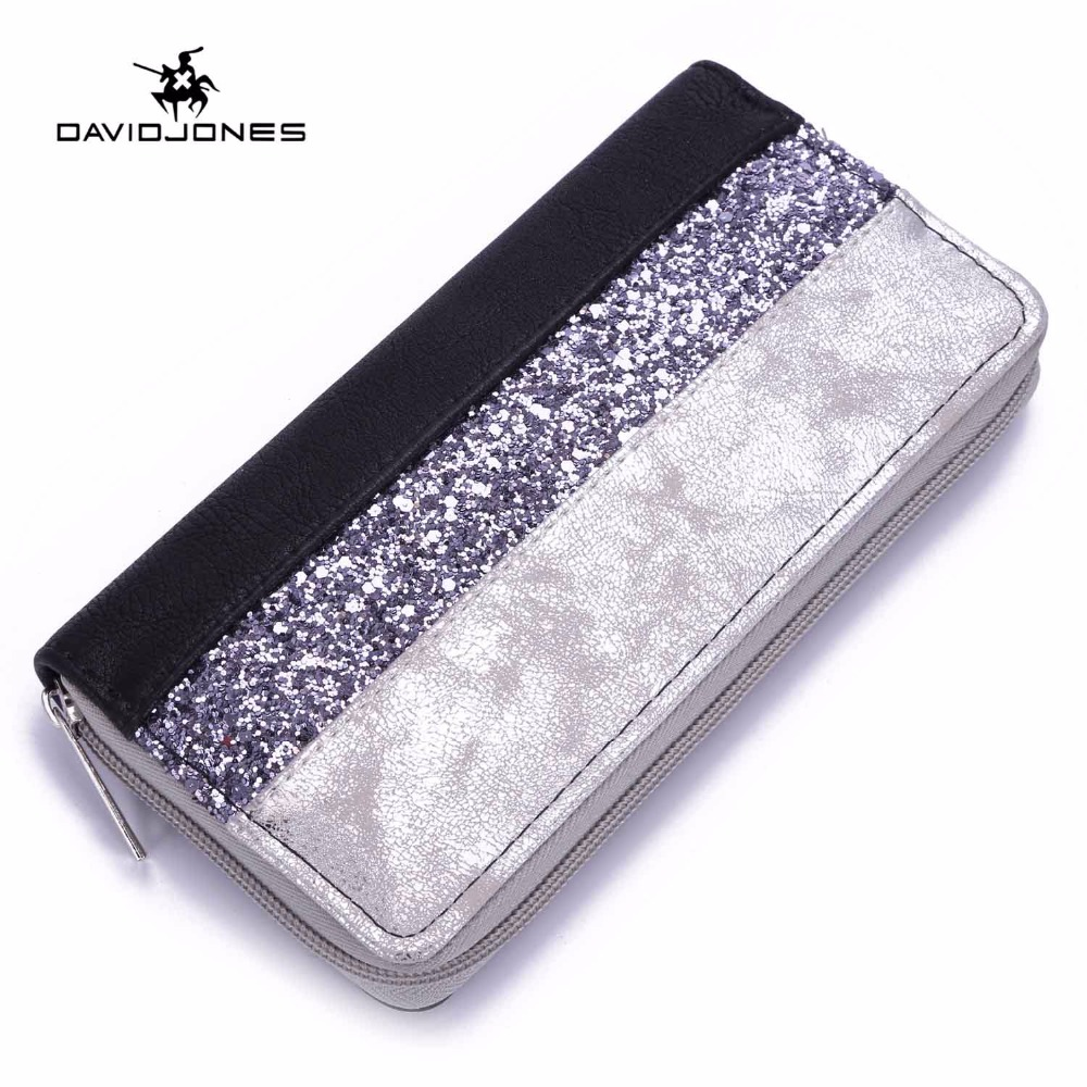 DAVIDJONES Long Women Wallets Patchwork Bags 2018 Wallet Women Zipper Clutch Bag Brand C ...