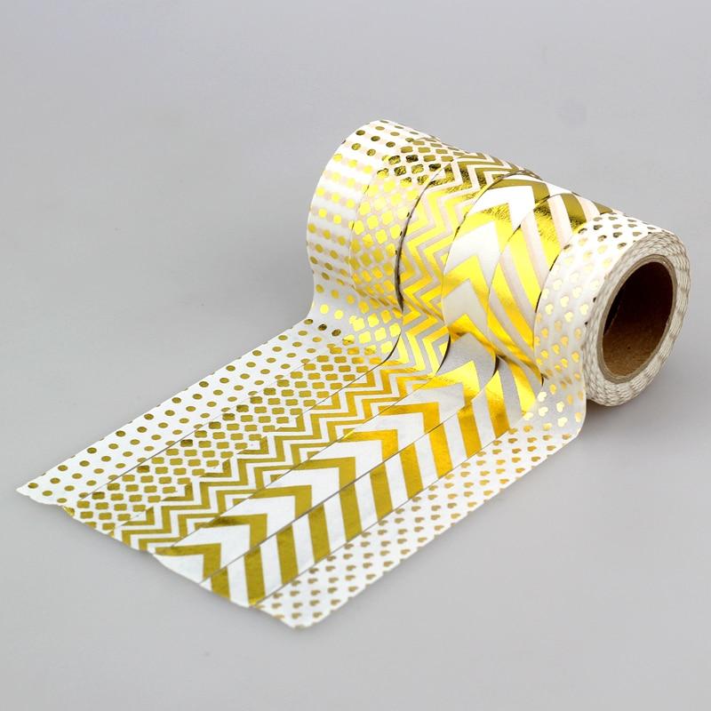 NEW 1X Sticky Paper Tape Gold Foil Printing Craft Scrapbooking DIY Decorative Masking Japanese Foil Washi Tape Paper Lot 10m