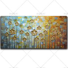 handpainted knife gold flower painting Home Decor Handpainted Flower Oil Painting On Canvas Abstract Picture For Living Room