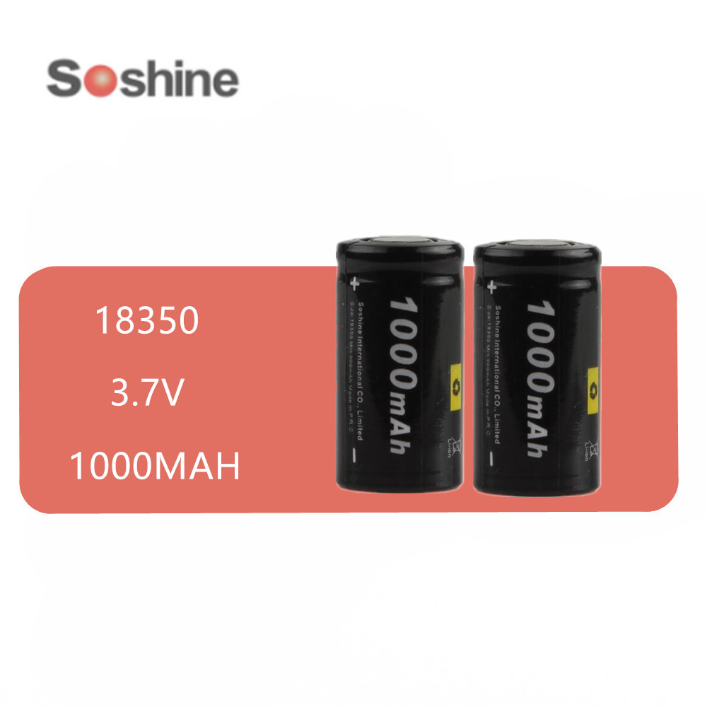2 pcs Soshine 18350 Li-ion rechargeable <font><b>battery</b></font> <font><b>3.7V</b></font> <font><b>1000mAh</b></font> <font><b>Batteries</b></font> image