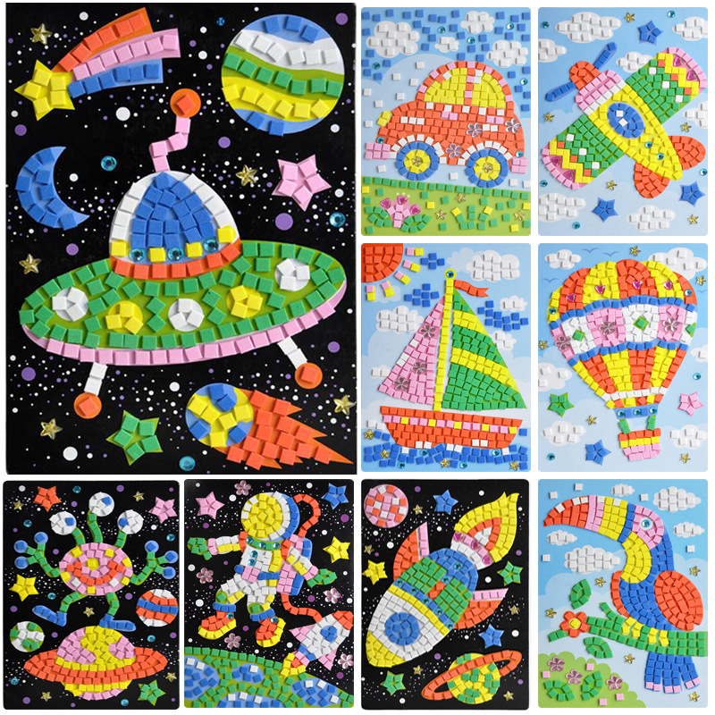 Kids DIY painting crystal Mosaic diamond EVA stickers paste paper kindergarten material package craft kits for children toy gift