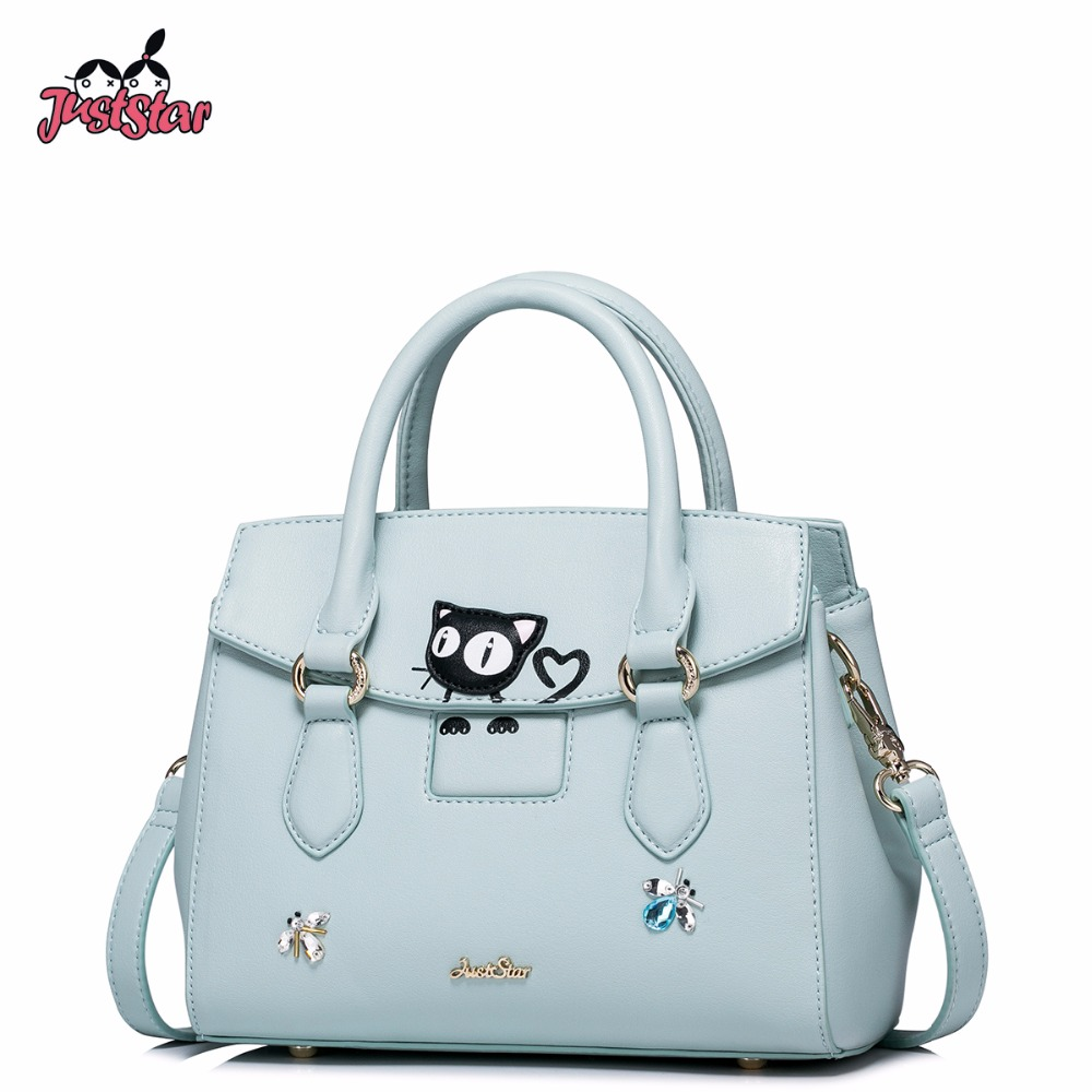 JUST STAR Women's PU Leather Handbags Ladies Fashion Cute Cat Tote Bags Female Spring Messenger Bags Brand High Quality JZ4288 just star women s pu leather handbags ladies fashion rivet tote bags female cat cute messenger bags brand high quality jz4227
