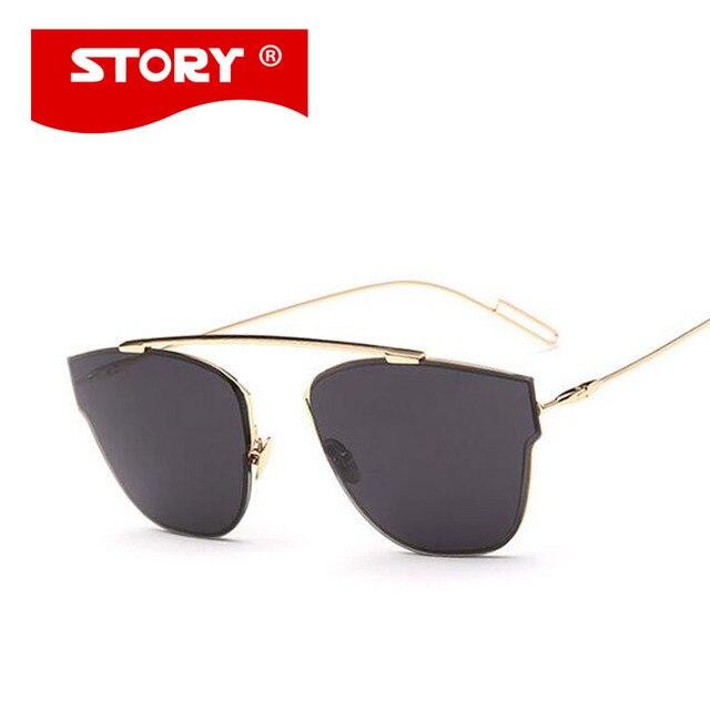 f7e78c401f1f6 HISTÓRIA Famosa Marca Designer Cat Eye óculos de Sol Espelho Homens pantos  Homme Patchwork Mulheres UV400