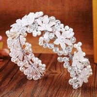 Wedding Bridal Hair Accessories Sweet Crystal Pearl Flower Headbands Women Tiaras Crown Hair Hoop Ladies Headwear
