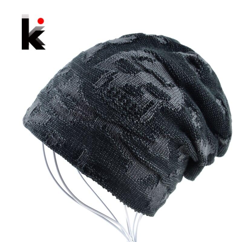 Mens Skull Hat Winter Skullies Knitted Wool Hat Plus Velvet Hip Hop Cap Thicker Bonnet Beanie Stocking Hats For Men Touca