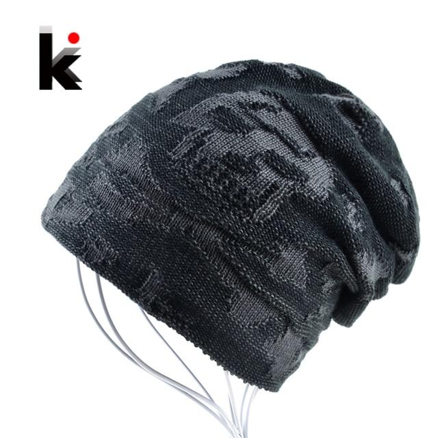 Mens skull hat winter skullies knitted wool hat plus velvet hip hop cap  thicker bonnet beanie 558e45a663b