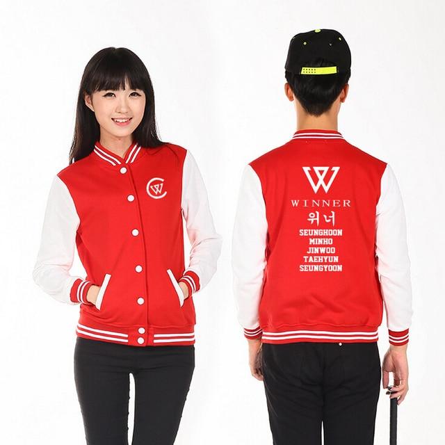 Preppy style kpop winner all member name printing single breasted baseball  jacket men women hoodies fashion outwear 91ede70469cb
