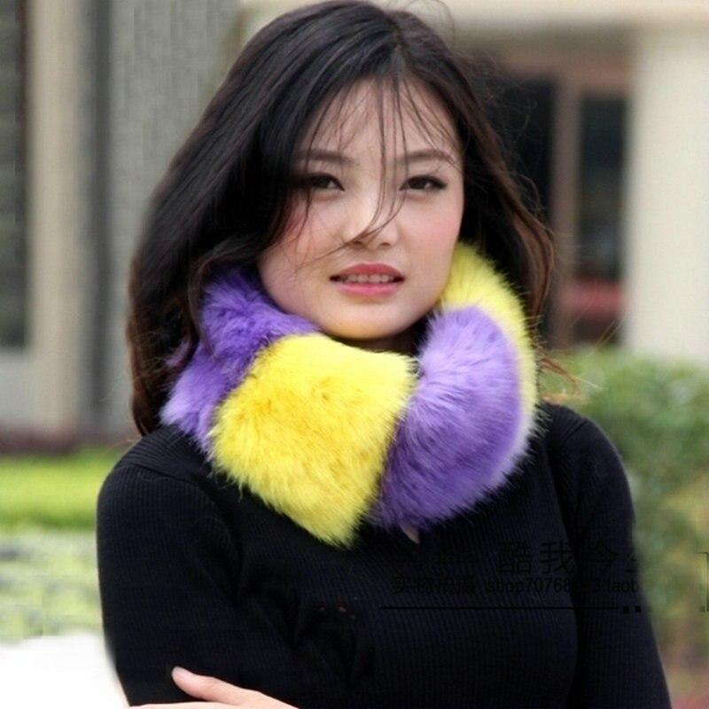 169294ed3515 2015 mode hiver chaud femmes Imitation faux col de fourrure foulards châles  noir et blanc hit couleur fourrure de renard écharpe