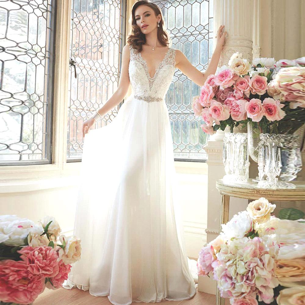 2016 mariage sexy lace beach wedding dress elegant bride dress v neck long simple wedding gown