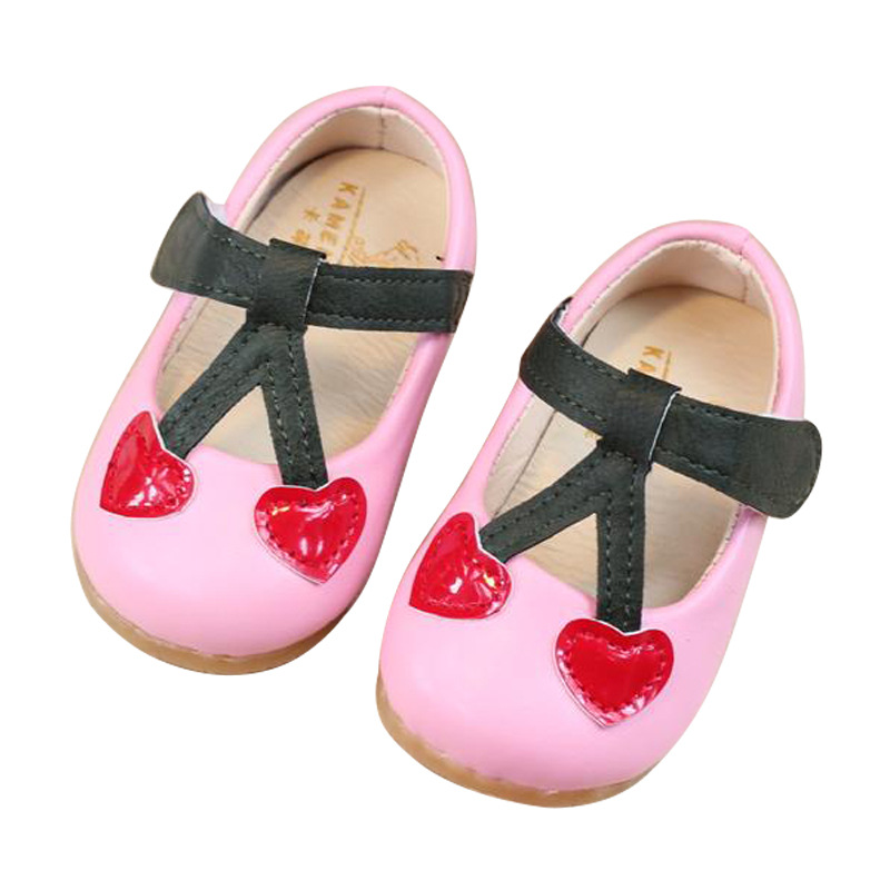 Autumn/Spring Baby Girls Shoes Kids Princess Shoes Children Cute Cherry Single Shoes Infant Soft Bottom Toddler Shoes