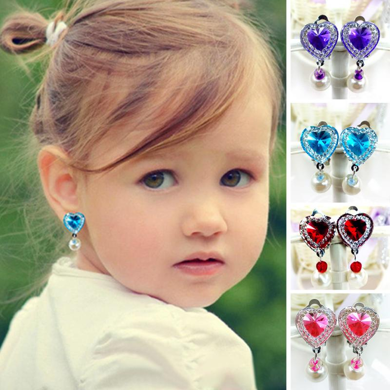 H:HYDE 10 Colors Heart Shape Rhinestone Clip Earrings For Children Kids Soft Cushion Invisible Ear Hanging No Piercing Earring