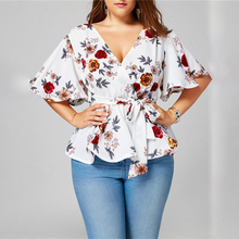 цена на New Women's Blouse Sexy V Neck Floral Print Flare Sleeve Belted Surplice Peplum Tops And Blouse blusas feminina Plus Size