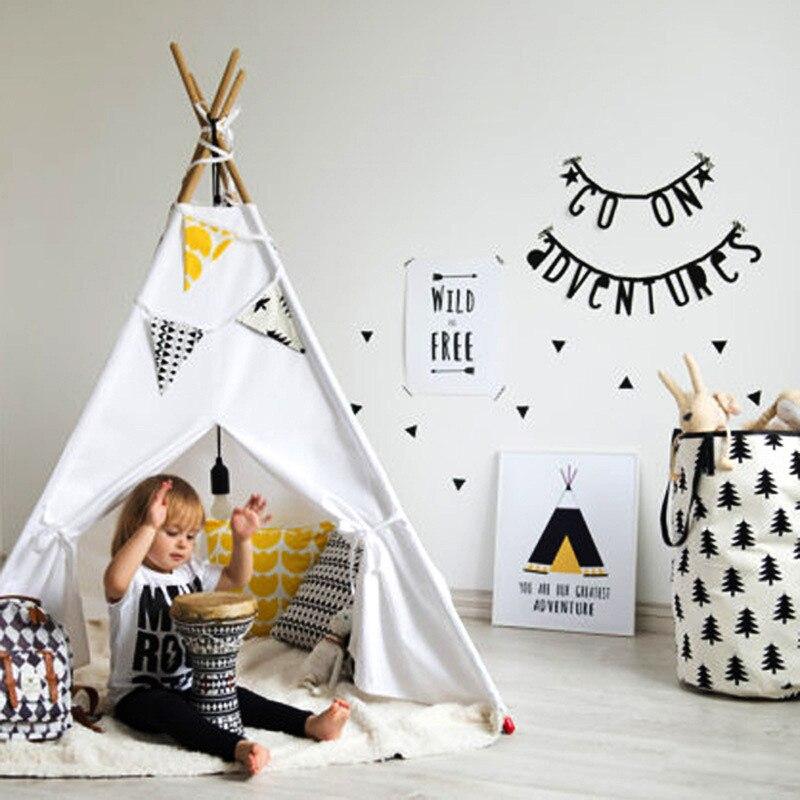 Quatre Pôles Enfants Jouent Tente De Tipi de Toile de Coton Enfants Jouet Tente Jouer Maison Chambre Bébé Tipi Enfants Chambre Décor Photo accessoires