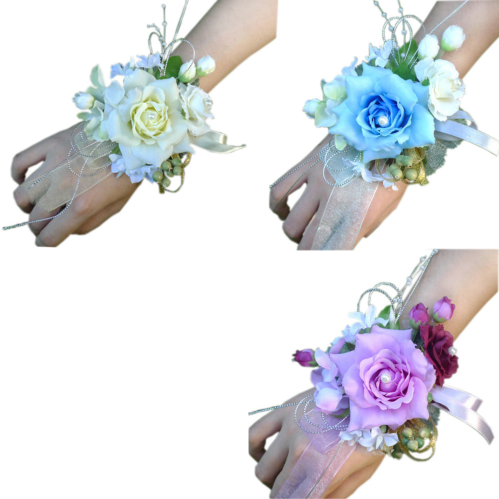 3pcslot Bridal Bridesmaid Wrist Corsage Silk Flowers For Home