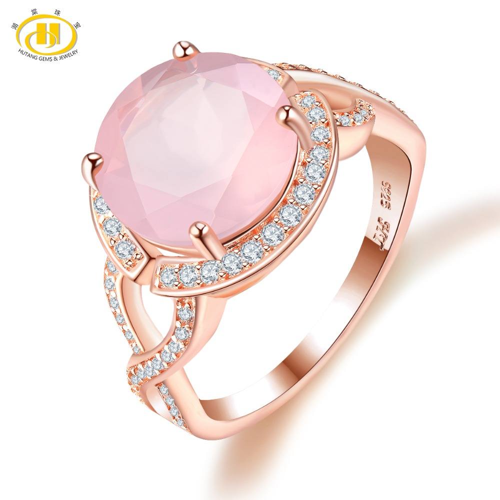 Hutang Rose Quartz Engagement Ring Rose Gold Solid 925 Sterling Natural Gemstone Silver Fine Fashion Stone Jewelry For Female