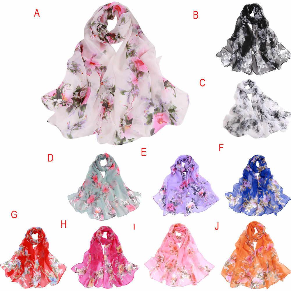 女性スカーフ多色ピーチ花印刷ロングシフォンソフトラップスカーフ女性ショールスカーフ Accesorios Abrigos の Mujer 2019 Y3
