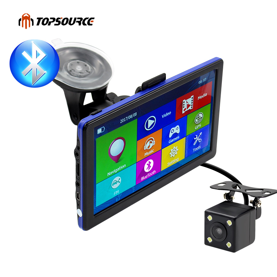 TOPSOURCE 7 Truck Car GPS Navigation 800Mhz 8GB AVIN Bluetooth Capacitive Spain GPS Navigator Europe/USA/Navitel Map Free topsource 7 inch car gps navigation android 8gb avin automobile navigator europe usa russia spain navitel map truck gps sat nav