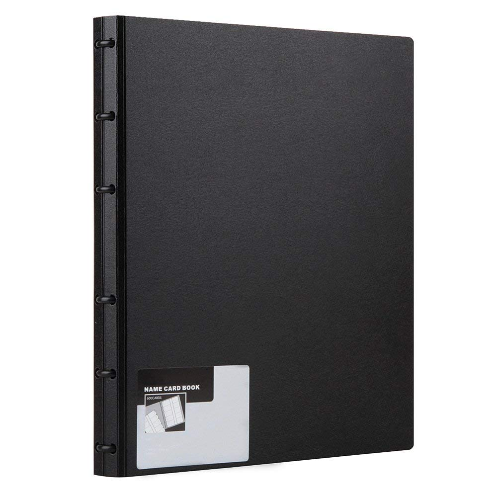 Business Card Book, Name Card Holder Book with 600 Business Cards Capacity (Black)