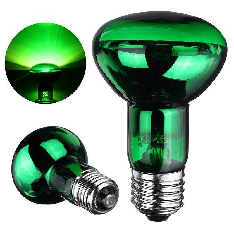 Night Pet Heating Light Bulb 25W/40W/50W/60W/75W/100W E27 R63 Heat Light Lamp Bulb Green For Reptile Pet Brooder AC220V-240V