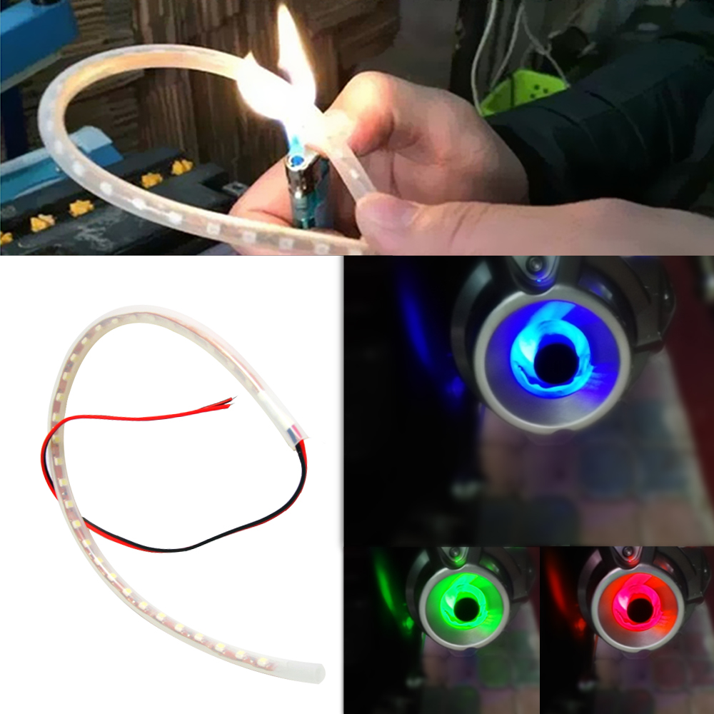 LEEPEE LED Motorcycle Light Scooter Refit Torching Thermostability Lights 1 Set Moto Decorative Lamps Exhaust Pipe Lamp