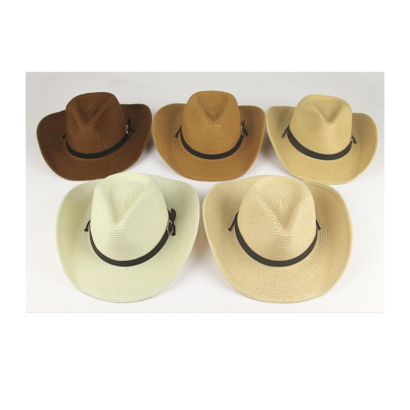 Sombrero de fieltro vaquero para hombre Sombreros de paja nuevo estilo de  verano ala ancha Sunhats sombrero occidental del sombrero del partido mujer  ... 05c4970cdda