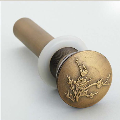 Wholesale And Retail Flower Art Antique Brass Bathroom Basin Sink Drain Pop Up Waste Vanity Without Overflow