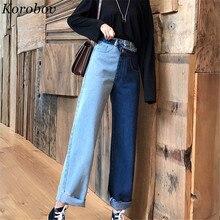 Korobov Новые Модные осенние корейские женские брюки со вставками, широкие брюки с высокой талией, свободные джинсы длиной до лодыжки 75872