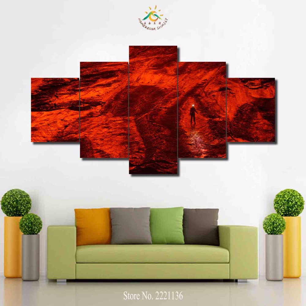 3-4-5 панелей/комплект Магма поверхность Fire HD с Краски украшения дома Гостиная или Спальня холст принт Краски ing стены картину