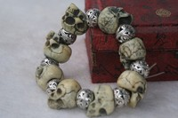 TNUKK Worthy collection of silver beads and skull series into rosary bracelet