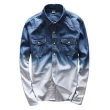 Fashion Blue Gradient Denim Shirts Men Fitness Clothing College Basic Long Sleeve Shirt Man Hot Contrast Color Camisa Masulina