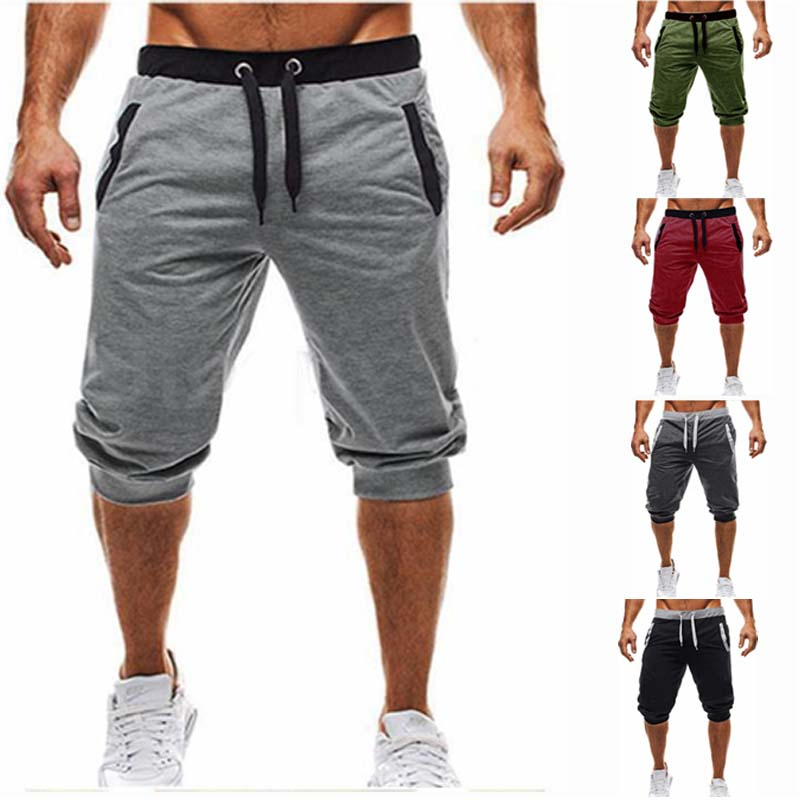 2019 new fashion summer casual men's knee longg color patchwork jogging   short   sports pants men's Bermuda   shorts