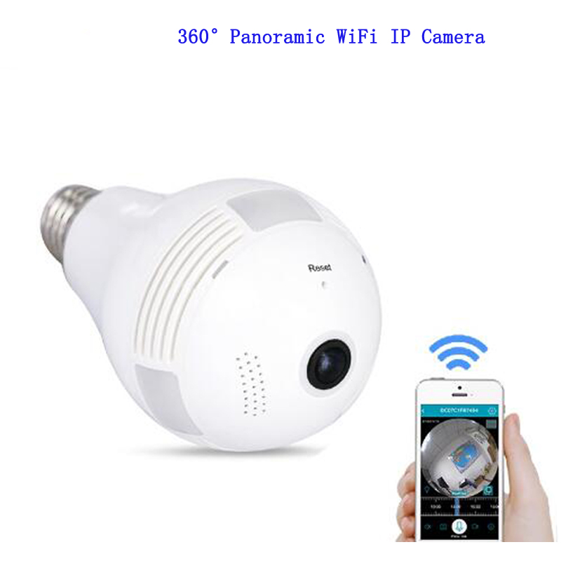 1080P Wi-Fi FishEye Camera 360 degree Bulb Light Mini VR Camera 3 MP Panoramic Wireless IP Camera light bulb camera vr 360 degrees wifi3d fisheye panoramic light camera network led