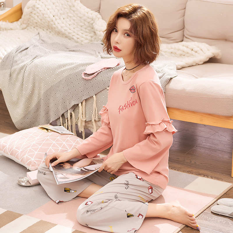 Spring And Autumn Sweet Lovely Long Sleeved Cotton Pajamas Ladies Homewear Suit Girl Suit