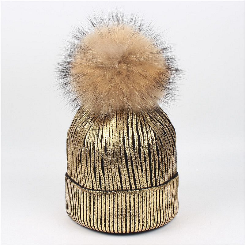 c7b92d6a3d5 Women Real Fur Pom Pom Hat Female Winter Wool Autumn Knitted Beanies Fur  Ball Cap Ladies Cashmere Natural Raccoon Fur Pompom Hat