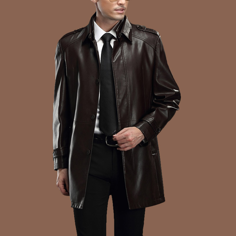 Special Promotion The New 2014 Men S Sheep Leather Trench
