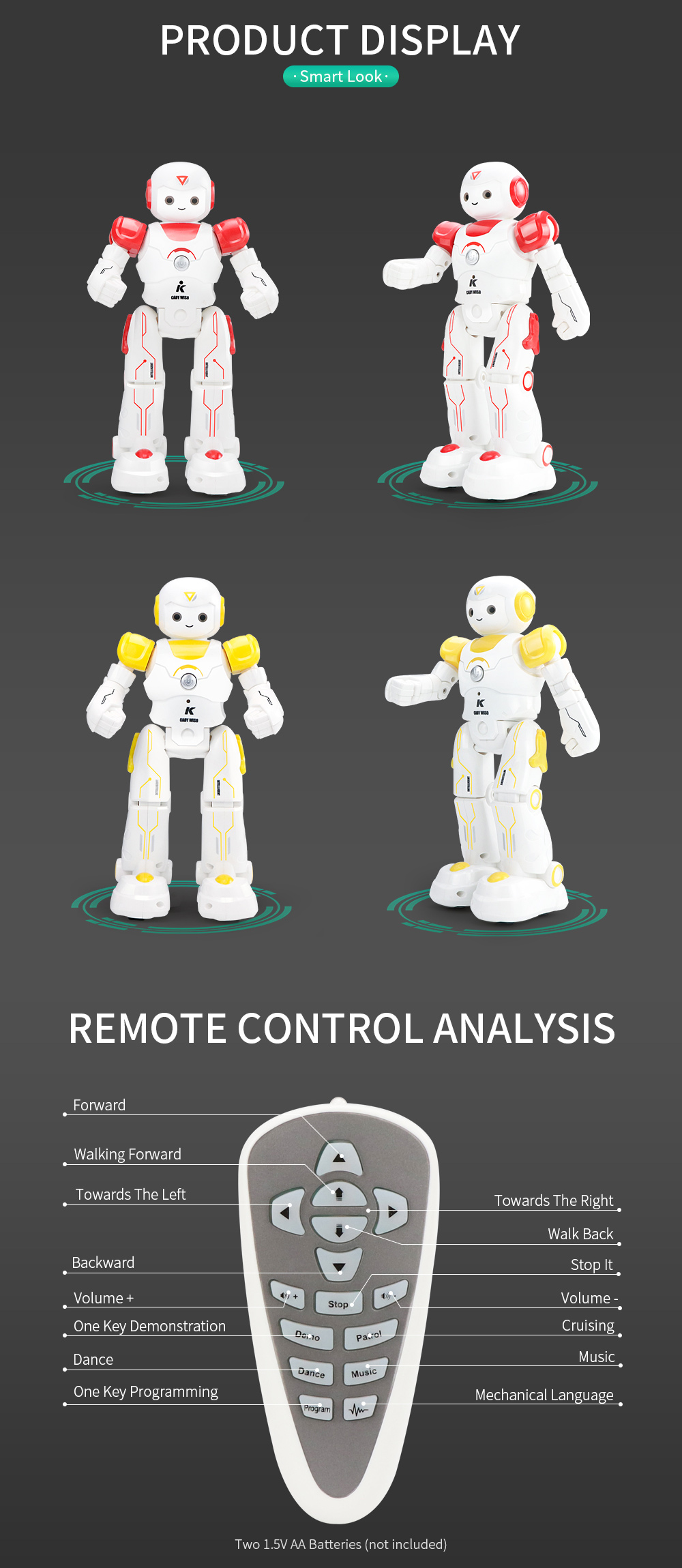 JJRC R12 Remote Control Smart Robots Cady Wiso RC Robot Gesture Sensing Touch Intelligent Dancing Electronic Toy For Children (14)