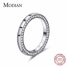 Anillo de Plata de Ley 925 auténtica de Modian, anillo de corazón de la vida fantástica, joyería de dedo de circonita transparente a la moda para mujer, anillos de boda