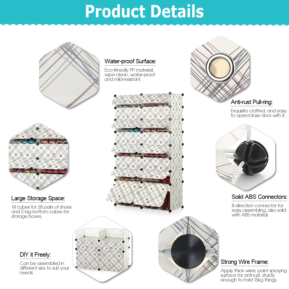 iKayaa 32 Pairs DIY Cube Plastic Shoes Rack 16 Grids Shoes Storage ...