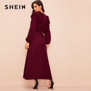 Image 2 - SHEIN تغرق الرقبة الطبقات حافة كشكش عباءة مربوط المارون الصلبة براقة العميق الخامس الرقبة النساء الفساتين