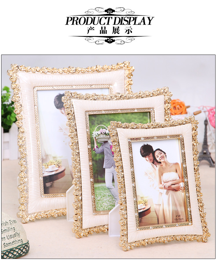 europe type electroplating gold lace picture frames and 8 inches wedding studio decorative gifts wholesale