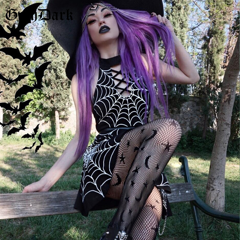 Goth Dark Aesthetic Grunge Gothic Print Dress Punk Patchwork Hollow Out Sexy Fashion Crisscross Bandage Halter Dresses Backless 1