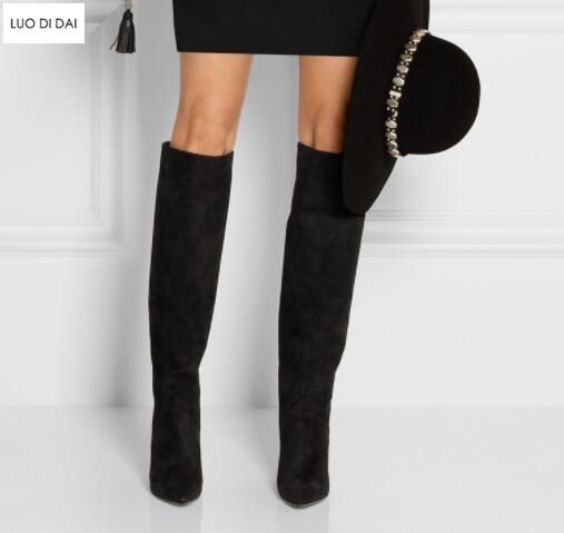 Cremallera Pic Botas Pic La as Moda Cuero Tacones Rodilla Gamuza De Señoras Hasta Cuña Alto Mujeres Las Tacón Zapatos As 2019 Parte YFZ4xwfqHn